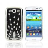 Samsung Galaxy S3 Hard Aluminum Back Case w/ Bling - Black/ Silver Peacock