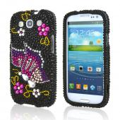 Samsung Galaxy S3 Bling Hard Case - Purple/ Pink Butterfly on Black Gems