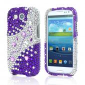 Samsung Galaxy S3 Bling Hard Case - Purple/ Silver Hearts &amp; Gems