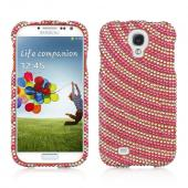 Hot Pink w/ White Gems Candy Swirl Bling Hard Case for Samsung Galaxy S4