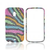 Samsung Galaxy Nexus Bling Hard Case - Rainbow Zebra on Black Gems