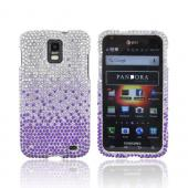 Samsung Galaxy S2 Skyrocket Bling Hard Case - Purple/ Lavender Waterfall on Silver Gems