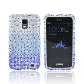 Samsung Galaxy S2 Skyrocket Bling Hard Case - Turquoise/ Blue Waterfall on Silver Gems