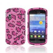 Samsung Stratosphere i405 Bling Hard Case - Hot Pink/ Black Leopard on Pink Gems