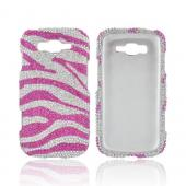 Samsung Focus 2 Bling Hard Case - Hot Pink/ Silver Zebra