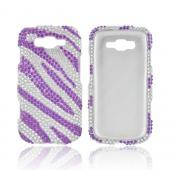 Samsung Focus 2 Bling Hard Case - Purple/ Silver Zebra