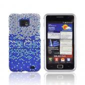 AT&amp;T Samsung Galaxy S2 Bling Hard Case w/ Kickstand - Blue/ Turquoise Waterfall on Silver Gems