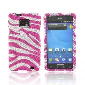 AT&T Samsung Galaxy S2 Bling Hard Case - Hot Pink Zebra on Silver Gems