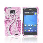 AT&amp;T Samsung Galaxy S2 Bling Hard Case w/ Crowbar - Magenta/ Baby Pink Swirls on Silver Gems