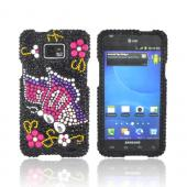 AT&amp;T Samsung Galaxy S2 Bling Hard Case - Pink/ Purple Butterfly on Black Gems