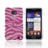 AT&amp;T Samsung Galaxy S2 Bling Hard Case w/ Kickstand - Silver Zebra on Hot Pink Gems