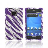 AT&amp;T Samsung Galaxy S2 Bling Hard Case - Purple Zebra on Silver Gems