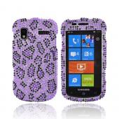 Samsung Focus i917 Bling Hard Case - Purple/Black Leopard