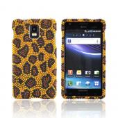 Samsung Infuse i997 Bling Hard Case - Brown/ Black Leopard on Gold Gems