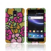 Samsung Infuse i997 Bling Hard Case - Green/ Pink/ Yellow Hawaii Flowers