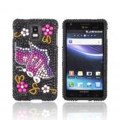 Samsung Infuse i997 Bling Hard Case - Pink/ Purple Butterfly on Black Gems