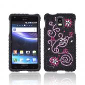 Samsung Infuse i997 Bling Hard Case w/ Crowbar - Pink Swirls & Silver Flowers on Black Gems