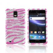 Samsung Infuse i997 Bling Hard Case - Pink Zebra on Silver Gems