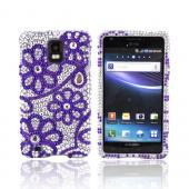 Samsung Infuse i997 Bling Hard Case - Purple Lace Flowers on Silver Gems