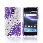 Samsung Infuse i997 Bling Hard Case - Purple/ Silver Hearts & Gems