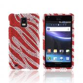 Samsung Infuse i997 Bling Hard Case - Red Zebra on Silver Gems