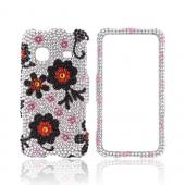Samsung Prevail M820 Bling Hard Case - Black/ Red Daisies on Silver Gems