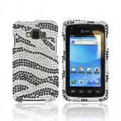 Samsung Rugby Smart i847 Bling Hard Case - Black/ White Zebra