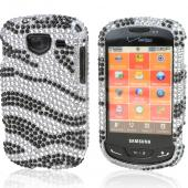 Samsung Brightside U380 Bling Hard Case - Black/ Silver Zebra