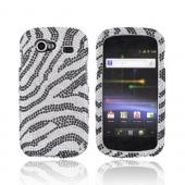 Google Nexus S Bling Hard Case - Black Zebra on Silver Gems