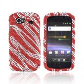 Google Nexus S Bling Hard Case - Silver Zebra on Red Gems