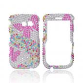 Samsung Freeform 2 R360 Bling Hard Case - Pink Butterflies &amp; Multi Colors on Silver