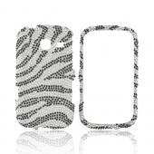 Samsung Freeform 3 Bling Hard Case - Black Zebra on Silver Gems