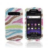 Samsung Rookie R720 Bling Hard Case - Rainbow Zebra on Silver Bling