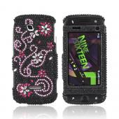 Samsung Sidekick 4G Bling Hard Case - Pink Swirls &amp; Silver Flowers on Black Gems