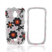 Samsung Exhibit T759 Bling Hard Case - Red/ Black Daisies on Silver Gems