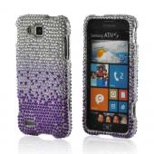 Purple/ Lavender Waterfall on Silver Gems Bling Hard Case for Samsung ATIV S