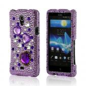 Purple Hearts on Purple/ Clear Gems Bling Hard Case for Sony Xperia TL