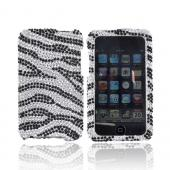 Apple iPod Touch 2 & 3 Bling Hard Case - Black/Silver Zebra