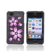 Apple Verizon/ AT&T iPhone 4, iPhone 4S Bling Hard Case - Pink Blossom on Black