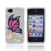 Apple Verizon/ AT&amp;T iPhone 4, iPhone 4S Bling Hard Case - Butterfly on Silver