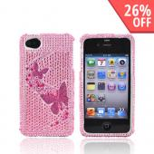 Apple Verizon/ AT&amp;T iPhone 4, iPhone 4S Bling Hard Case - Butterflies on Pink