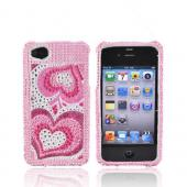 Apple Verizon/ AT&amp;T iPhone 4, iPhone 4S Bling Hard Case - Triple Pink Hearts