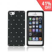 Apple iPhone 5 Silicone Case w/ Bling - Black w/ Silver Gems