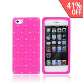 Apple iPhone 5 Silicone Case w/ Bling - Hot Pink w/ Silver Gems