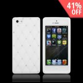 Apple iPhone 5 Silicone Case w/ Bling - White w/ Silver Gems