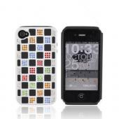 AT&T/ Verizon iPhone 4, iPhone 4S Hard Back w/ Bling on Crystal Silicone - White/ Black w/ Multi-Color Gems