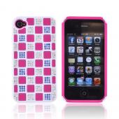 AT&T/ Verizon Apple iPhone 4, iPhone 4S Hard Back w/ Bling on Crystal Silicone - White/ Hot Pink w/ Multi-Color Gems