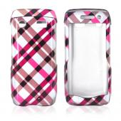 Blackberry Pearl 3G 9100/9105 Hard Case - Checkered Design of Pink, Hot Pink, Brown, Grey