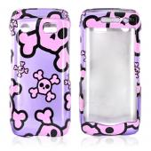 Blackberry Pearl 3G 9100/9105 Hard Case - Pink Skulls on Purple