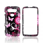 Blackberry Torch 9850 Hard Case - Pink Flowers &amp; Butterflies on Black